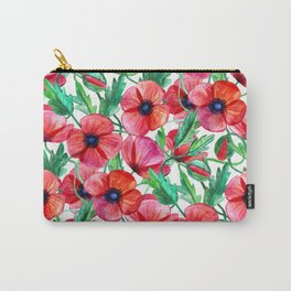 Plenty of Poppies - white Carry-All Pouch