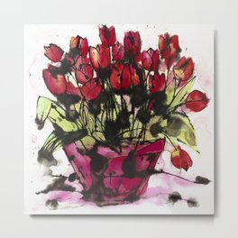 Red Tulips in a Pink Pot: a lively expressive artwork full of paint splashes and love Metal Print