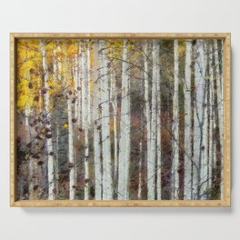 Northern Birch Forest Painting Serving Tray