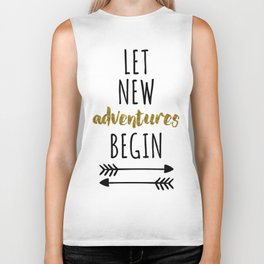 New Adventures Travel Quote Biker Tank