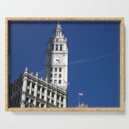 Chicago Clock Tower, American Flags Serving Tray