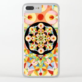 Pastel Carousel Black Circle Clear iPhone Case