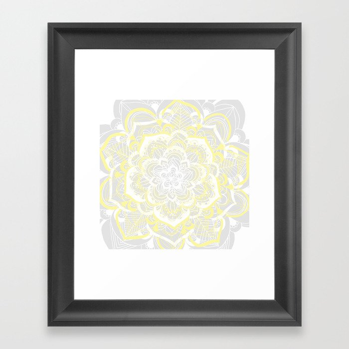 Woven Fantasy - Yellow, Grey & White Mandala Framed Art Print