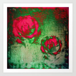 Morning Magenta Roses on Vintage Canvas Art Print