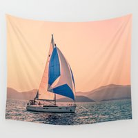 racing Wall Tapestries featuring  Yacht racing by Svetlana Korneliuk