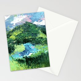 Gunnison: a vibrant acrylic mountain landscape in greens, blues, and a splash of pink Stationery Cards