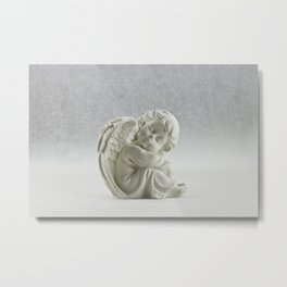 Angelic Cherub Snowfall Photography Metal Print