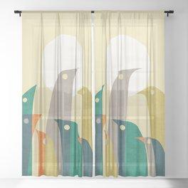 Wild birds at the beach Sheer Curtain
