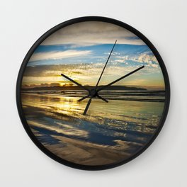 Benone Beach - Sunset Wall Clock