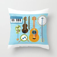 mortal instruments Throw Pillows featuring Simply Instruments by Paige Design, Inc.