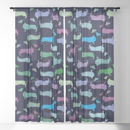 Colorful dachshunds Sheer Curtain