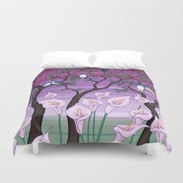 calla lilies & tree swallows Duvet Cover