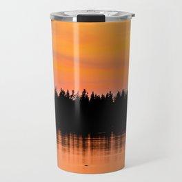 Orange Sunset With Forest Reflection On Lake Travel Mug