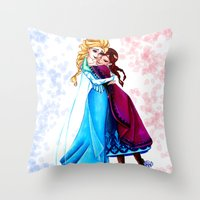 sisters Throw Pillows featuring Sisters by Siney