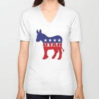 utah V-neck T-shirts featuring Utah Democrat Donkey by Democrat
