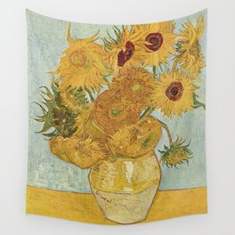 STILL LIFE: VASE WITH TWELVE SUNFLOWERS - VAN GOGH Wall Tapestry