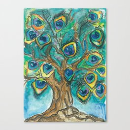 A Plummage of Possibility Peacock Tree Canvas Print