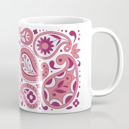 Pink and White Paisley Pattern Flowers Tear Drops Abstract Design Coffee Mug