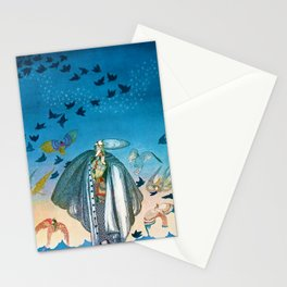 'Flock of Birds and Wild Flowers' magical realism portrait painting by Kay Nielsen Stationery Cards