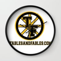 boston Wall Clocks featuring Boston by Tables and Fables