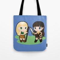 xena Tote Bags featuring Geek Babies: Xena & Gabrielle by Deanna Marie: Art & Design