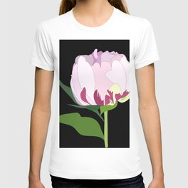Pink peony closed flower on black background T-shirt