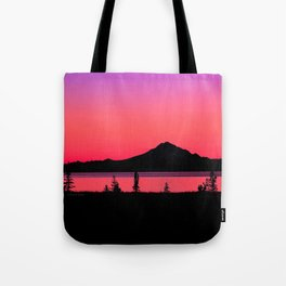 Pink Sunset Silhouette - Mt. Redoubt, Alaska Tote Bag