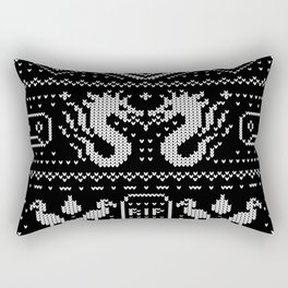 Ugly Christmas Sweater Pattern (White) Rectangular Pillow