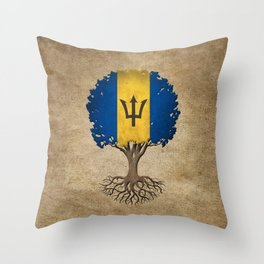 Vintage Tree of Life with Flag of Barbados Throw Pillow