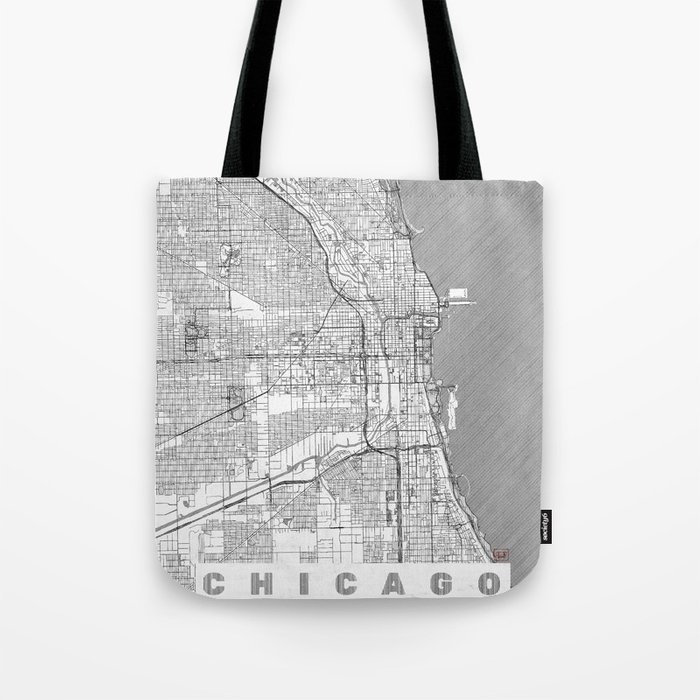 Chicago Map Line Tote Bag