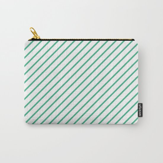 Diagonal Lines (Mint/White) Carry-All Pouch