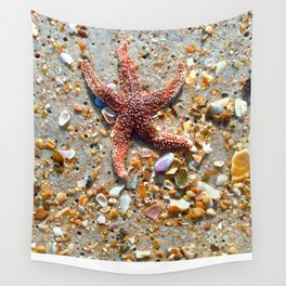 Washed up Beautiful Red Starfish Photo Art Wall Tapestry