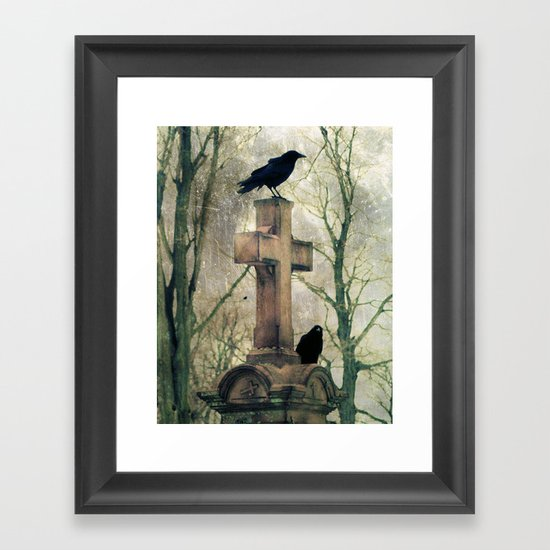 Two Graveyard Crows Framed Art Print