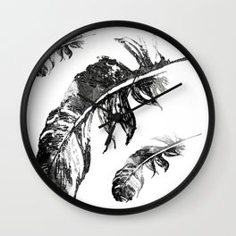 FEATHERS IN BLACK WHITE AND GRAY Wall Clock