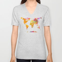 world map 23 Unisex V-Neck