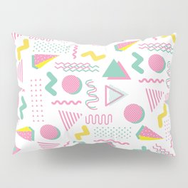 Abstract retro pink teal yellow geometrical 80's pattern Pillow Sham