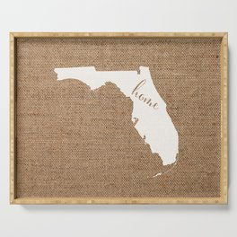 Florida is Home - White on Burlap Serving Tray