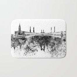 Mecca skyline in black watercolor Bath Mat