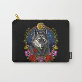 Psychedelic Wolf Trippy Moon Phases Carry-All Pouch