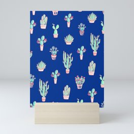 Little cactus pattern - Princess Blue Mini Art Print