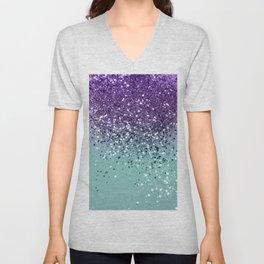 Purple Teal Mermaid Ocean Glitter #1 (Faux Glitter) #shiny #decor #art #society6 Unisex V-Neck