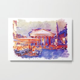 The Pantheon Rome Watercolor Streetscape Metal Print