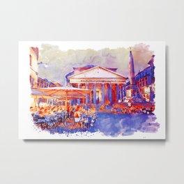 The Pantheon Rome Watercolor Streetscape Metal Print