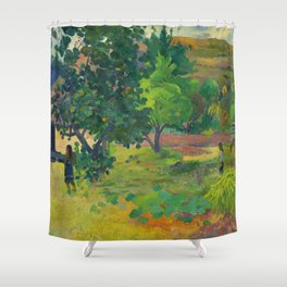 "Paul Gauguin ""Te Fare (La maison)"" Shower Curtain"