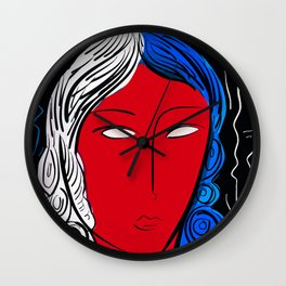 Pop and Expressionist portrait of a french girl Wall Clock