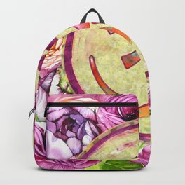 Golden OM symbol on Pastel Watercolor pattern Backpack