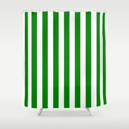 Narrow Vertical Stripes - White and Green Shower Curtain