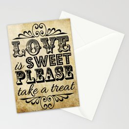 Love is Sweet, Please Take a Treat! Vintage Typography Stationery Cards