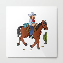 Cowboy on the horse Metal Print