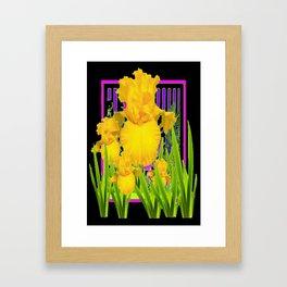 Modern Art Design  Golden Iris  Pattern on Black  Framed Art Print